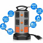 Power Strip Tower 10 Outlets 4 USB Ports Surge Overload Protector with 6FT Cord