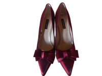 WINE RED AARON FAIY SHOE WITH SLENDER HEEL(SIZE 40)